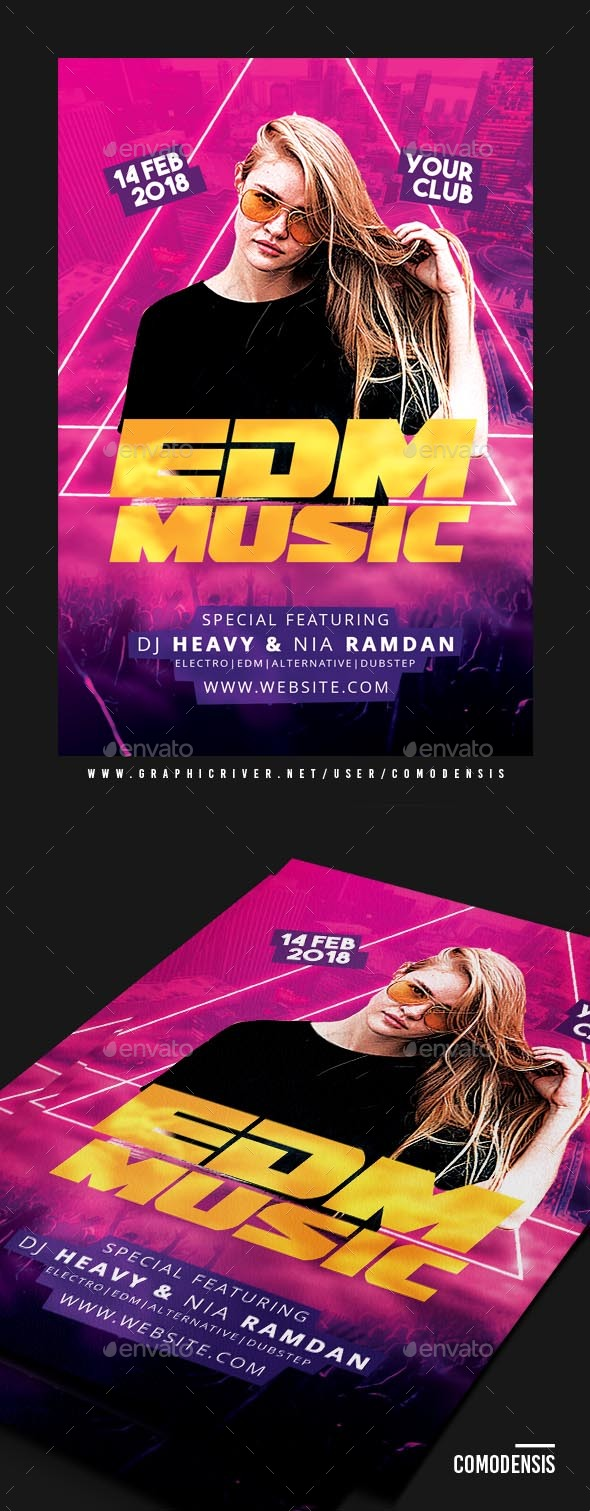 EDM Electro House Music Party Flyer - Clubs & Parties Events