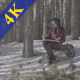 Woman Drawing a Picture in the Forest - VideoHive Item for Sale