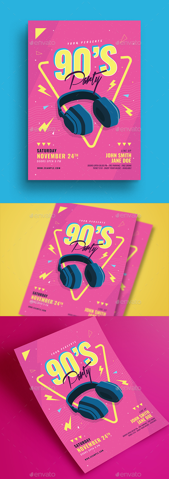 90's Music Event Party Flyer - Print Templates