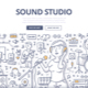 Sound Studio Doodle Concept - GraphicRiver Item for Sale