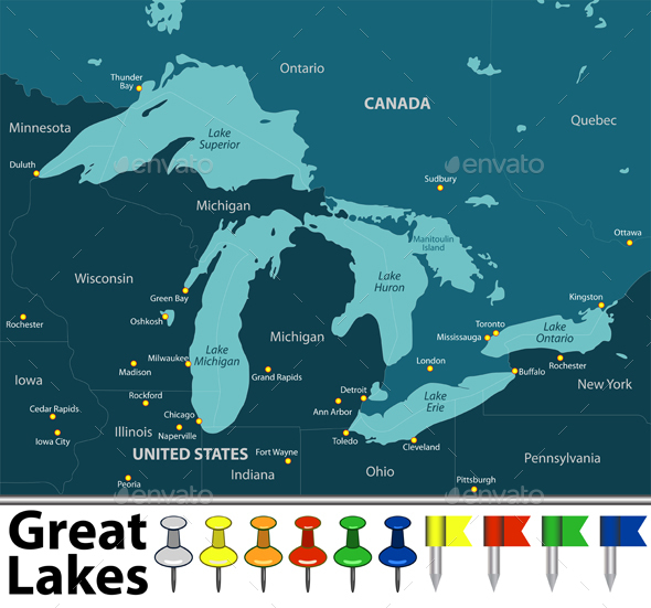 Map of Great Lakes - Travel Conceptual