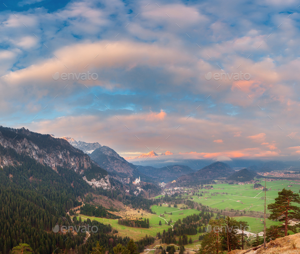 Beautiful colorful panoramic landscape with alpine mountains - Stock Photo - Images