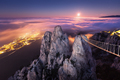 Mountain landscape with rising full moon at night - PhotoDune Item for Sale