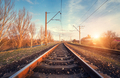 Railway station against beautiful sky at sunset. Industrial land - PhotoDune Item for Sale