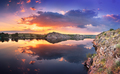 Beautiful summer sunset at the river with colorful sky - PhotoDune Item for Sale