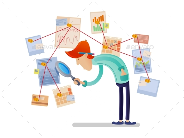Financial Analyst with Magnifying Glass - People Characters