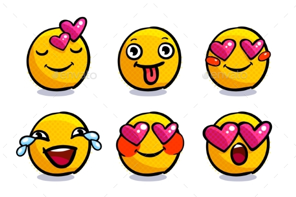 Set of Cute Valentine Emoticons in Love. - People Characters