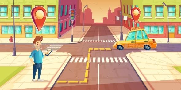 Vector Urban Navigation, Taxi Application Concept - Technology Conceptual