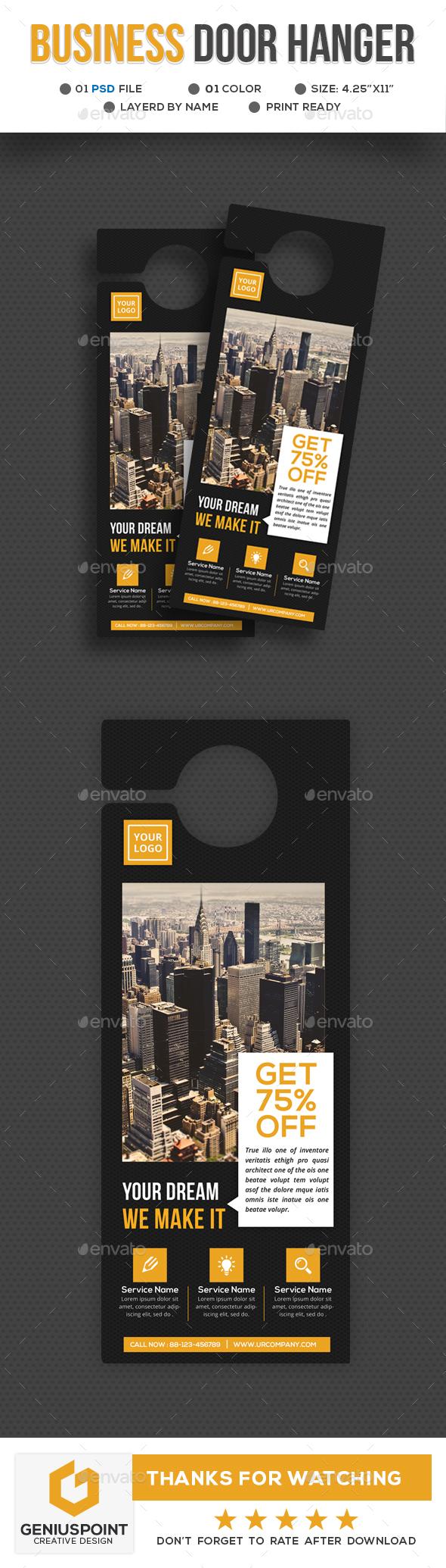 Business Door Hanger Template by GeniusPoint | GraphicRiver
