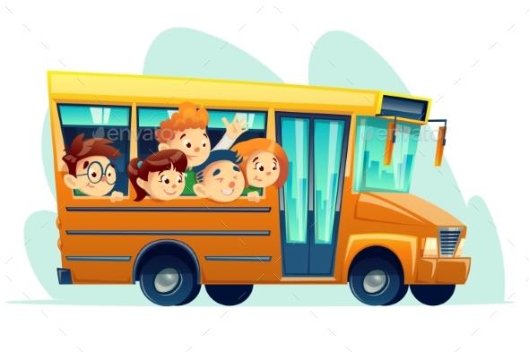 Vector Cartoon School Bus Full of Happy Kids - Objects Vectors