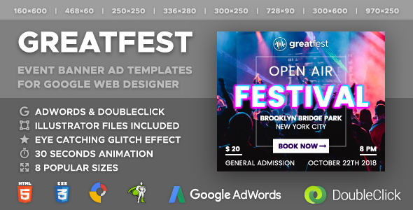Greatfest - Event Banner Ad Templates (GWD, GSAP) - CodeCanyon Item for Sale