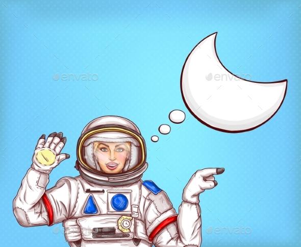 Pop Art Vector Astronaut Girl in Spacesuit - People Characters