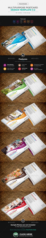 Postcard Design Template v2 - Cards & Invites Print Templates