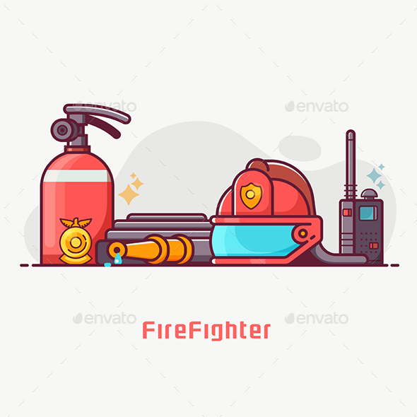 Fire Fighting Lifestyle Concept Banner - Miscellaneous Vectors