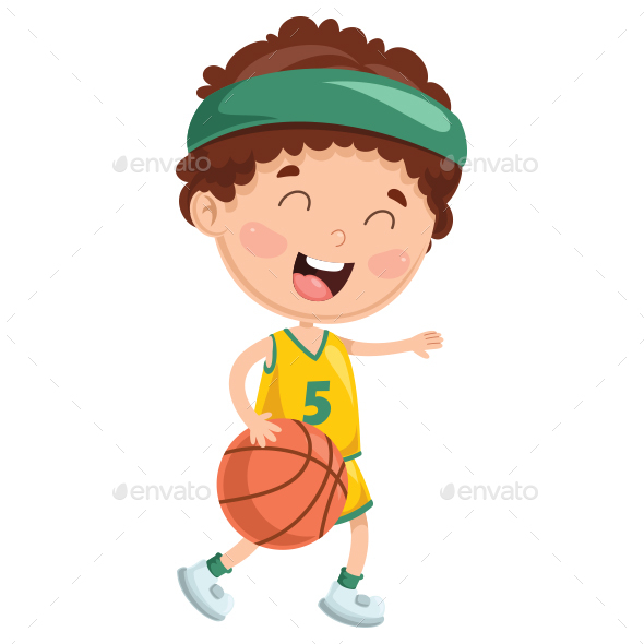 Vector Illustration of Kid Playing Basketball - People Characters