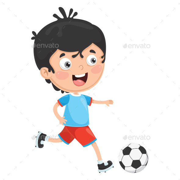 Vector Illustration of Kid Playing Football - People Characters