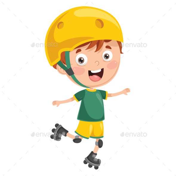 Vector Illustration of Kid Roller Skating - People Characters
