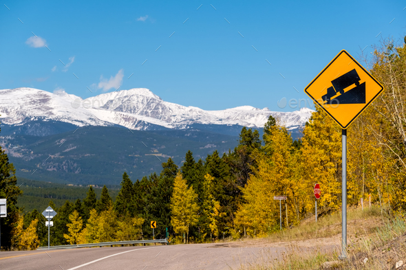 Steep grade truck road sign on highway - Stock Photo - Images