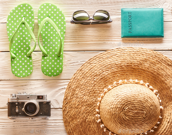 Travel and beach items flat lay - Stock Photo - Images