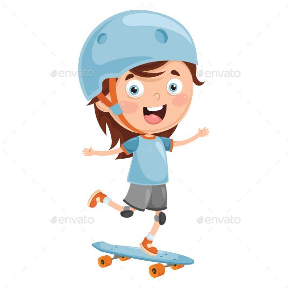 Vector Illustration of Kid Skate Boarding - People Characters