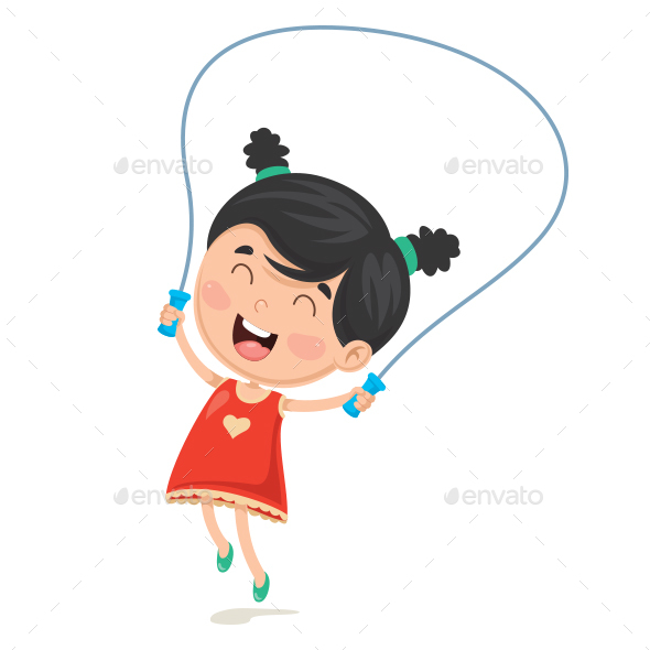 Vector Illustration of Kid Skipping Rope - People Characters