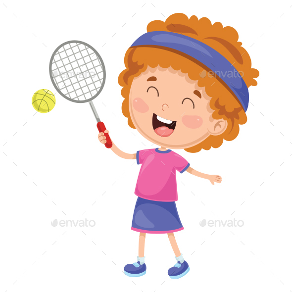 Vector Illustration of Kid Playing Tennis - People Characters