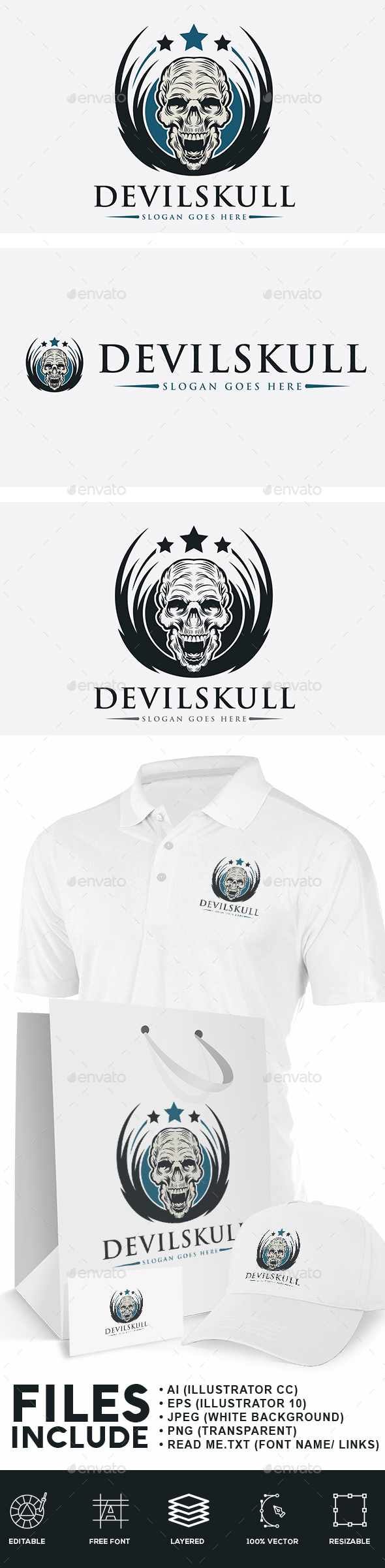 Devil Skull Logo - Humans Logo Templates