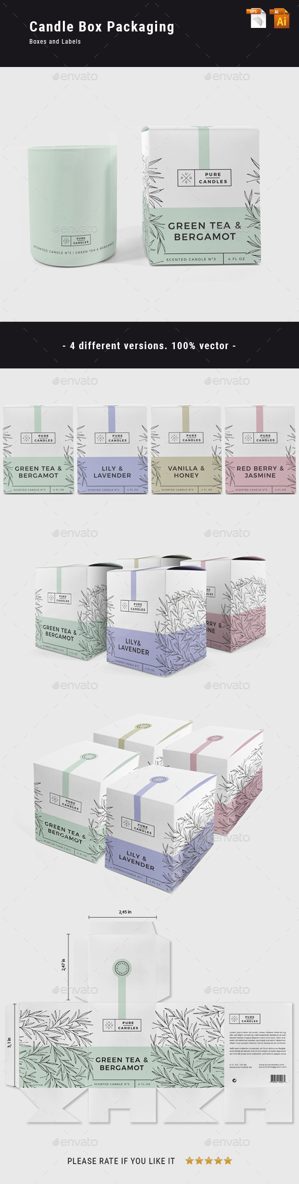 Candle Box Packaging - Packaging Print Templates