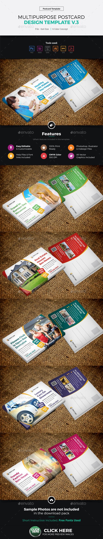 Postcard Design Template v3 - Cards & Invites Print Templates