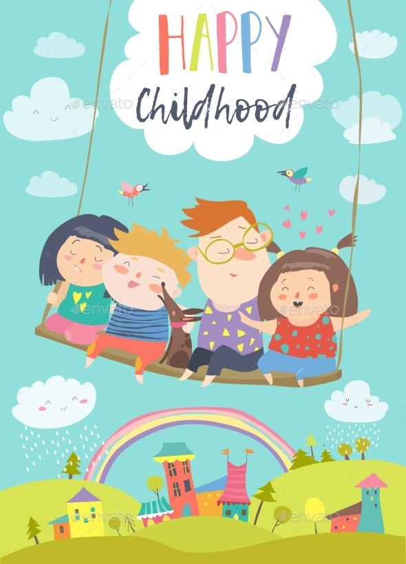 Kids Flying on a Swing - People Characters