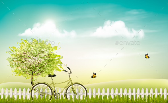 Spring Nature Meadow Landscape With a Bicycle