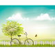 Spring Nature Meadow Landscape With a Bicycle - GraphicRiver Item for Sale