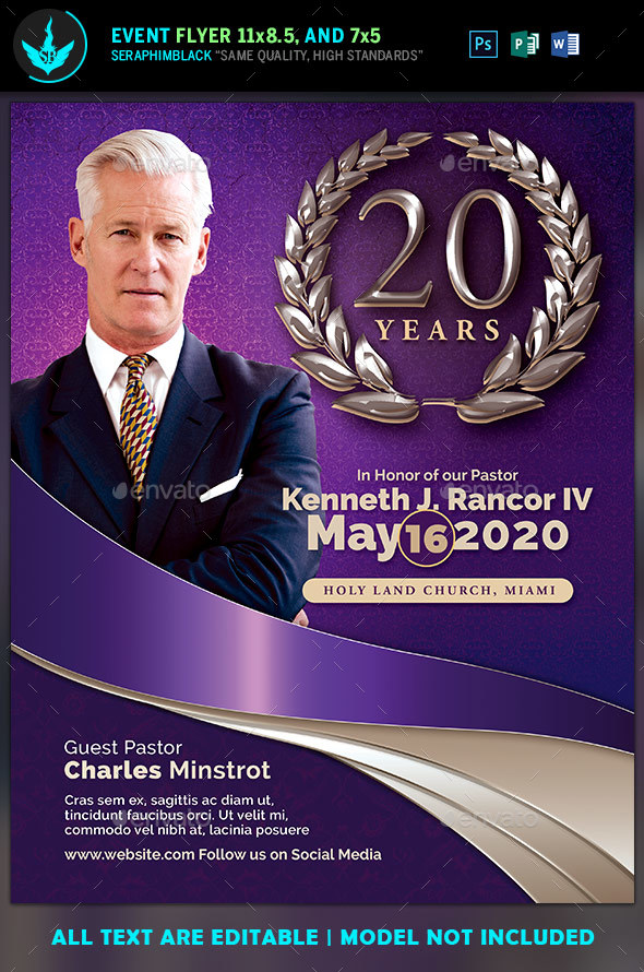 Lavender Pastors Anniversary Church Flyer Template By Seraphimblack