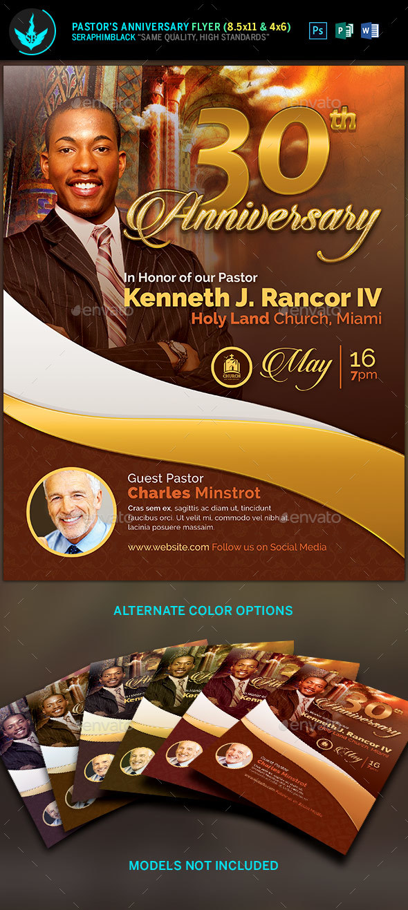 Gold Pastor's Anniversary Church Flyer Template - Church Flyers