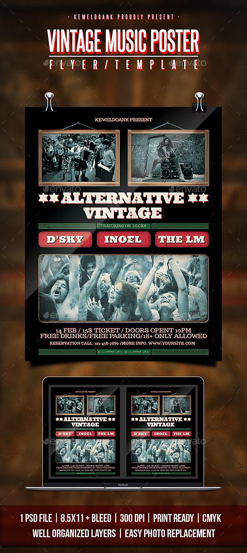 Vintage Music Poster Flyer / Poster - Concerts Events