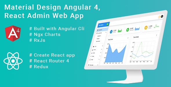 Material Design React Redux, Angular 4 Admin Web App with Html demo + Frontend