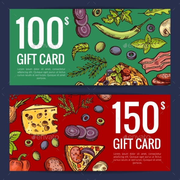 Vector Pizza Restaurant or Shop Giftcard - Miscellaneous Vectors