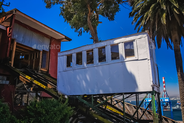 Passenger funicular in Valparaiso - Stock Photo - Images