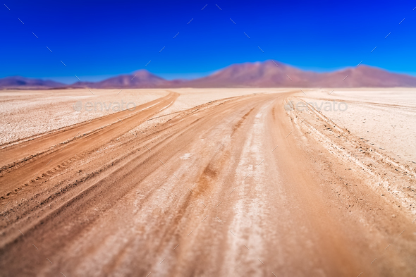 Corrugated road in Altiplano - Stock Photo - Images