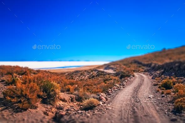 Remote road towards Salar de Uyuni - Stock Photo - Images