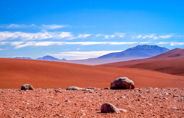Dry and desolate landscape of Altiplano - Stock Photo - Images