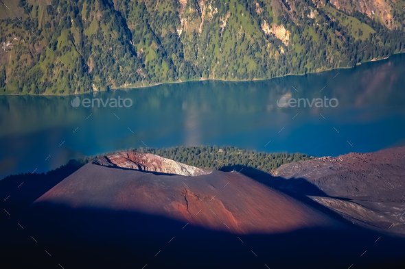 The cone  of Gunung Rinjani volcano in Lombok - Stock Photo - Images