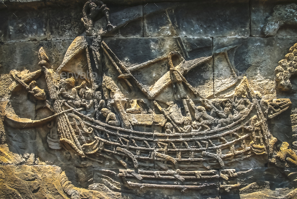Sailing ship carved on the wall in the Borobudur temple - Stock Photo - Images