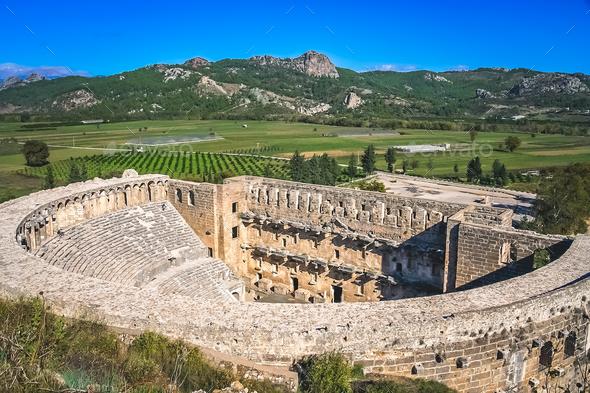 Ruins of Aspendos theatre - Stock Photo - Images