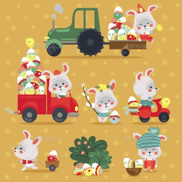 Set of Easter Bunny with Truck and Cars - Landscapes Nature
