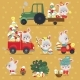 Set of Easter Bunny with Truck and Cars - GraphicRiver Item for Sale