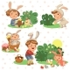 Set of Kids in Bunny Costume with Ears - GraphicRiver Item for Sale