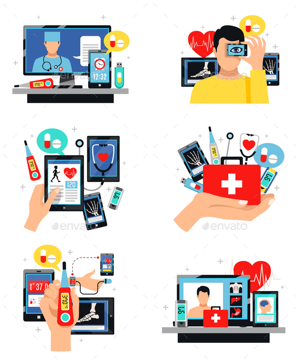 Digital Health Symbols Compositions Set - Health/Medicine Conceptual