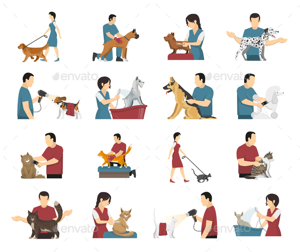 Pet Care People Set - Animals Characters