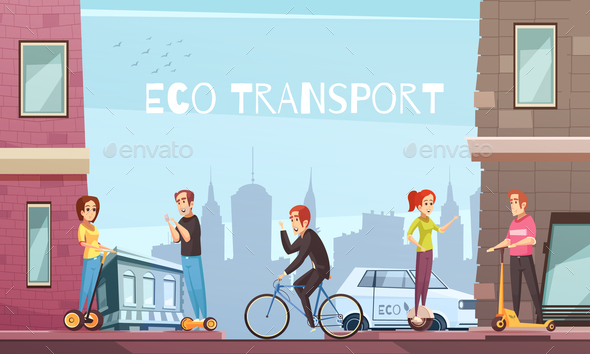 Individual Eco Transport City Poster - Travel Conceptual